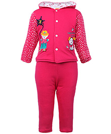 Tappintoes Full Sleeve Hooded Winter Wear Suit - Pink