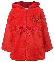 Peridot Full Sleeves Plush Hooded Jacket Red - Hello Catty Embroidery