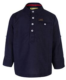 Gini & Jony Kurta Style Shirt Full Sleeves - Midnight Navy