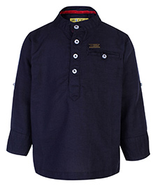 Gini & Jony Kurta Style Shirt Full Sleeves - Midnight Navy