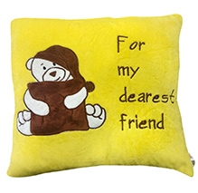 Soft Buddies Cushion Brown And Yellow - Bear Print