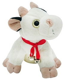 Soft Buddies Cow Soft Toy With Bell - White