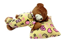 Soft Buddies Soft Toy Yellow - Sleeping Teddy Bear