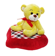 Soft Buddies Soft Toy Yellow - Sitting Bear With Heart