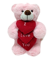 Soft Buddies Soft Toy Teddy Bear With 3 Hearts - Pink