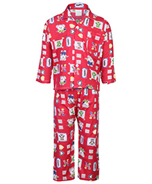 Babyhug Full Length Night Suit - Happy Bear Print