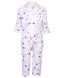 Babyhug Full Sleeves Nightsuit Printed - White And Blue