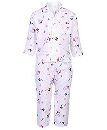 Babyhug Full Sleeves Nightsuit Printed - White And Blue