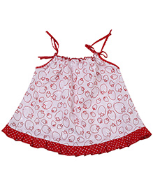 Babyhug Infant Frock Singlet - White And Red