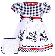 Babyhug Short Sleeve Frock With Bloomer - Floral Embroidery