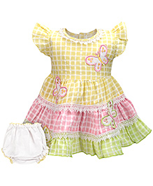 Babyhug Cap Sleeve Frock With Bloomer - Butterfly Patch
