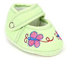 Sapphire Baby Booties Butterfly Embroidery - Green