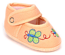 Sapphire Baby Booties Butterfly Embroidery - Peach