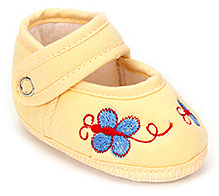 Sapphire Baby Booties Butterfly Embroidery - Yellow
