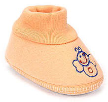 Sapphire Baby Booties Embroidered - Peach