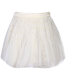 Gini & Jony Skirt Pearl Work - Light Cream - 12 To 18 Months (Size 18)