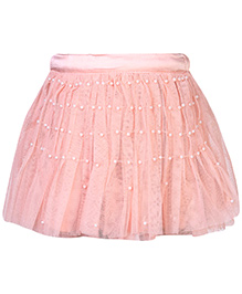 Gini & Jony Skirt Pearl Work - Peach