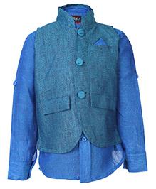 Blazo Shirt And Waistcoat Set Solid Theme - Mandarin Collar