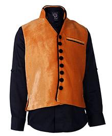 Little Bull Full Sleeves Shirt And Waistcoat Set - Orange
