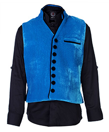 Little Bull Full Sleeves Shirt And Waistcoat Set - Front Button Placket