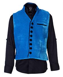 Little Bull Full Sleeves Shirt And Waistcoat Set - Blue