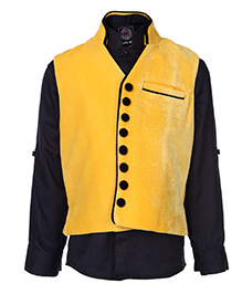 Little Bull Full Sleeves Shirt And Waistcoat Set - Yellow