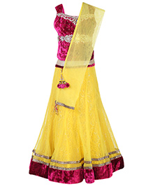 Babyhug Sleeveless Studded Choli And Lehenga Set - Yellow - 18 To 24 Months