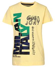 Gini & Jony T-Shirt Half Sleeves Yellow - Milan Italy Print