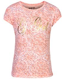Gini & Jony Printed Knit Top Half Sleeves - Peach
