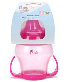 Duck Soft Spout Cup with Bottom Handle Pink - 240 ml