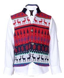 Little Bull Steampunk Vest With Full Sleeves Shirt - Red Multicolour And White