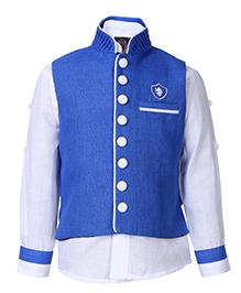 Little Bull Full Sleeves Shirt And Waistcoat Set - Dual Colour Collar