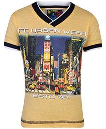 Finger Chips T-Shirt Half Sleeves Yellow - Urban Wear Graphic Print