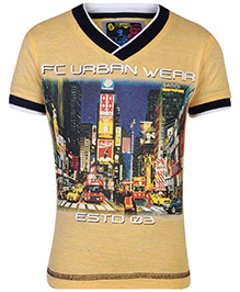 Finger Chips T-Shirt Half Sleeves Yellow - Urban Wear Graphic Print