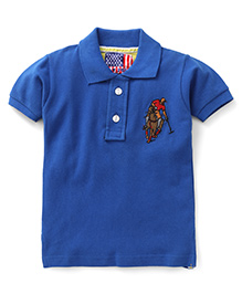 New York Polo Academy Half Sleeves T-Shirt Logo Print - Royal Blue