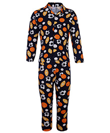 Ollypop Nightsuit Full Sleeves Football Print - Navy Blue