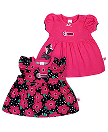 ToffyHouse Short Frock Floral Theme Pink - Set of 2
