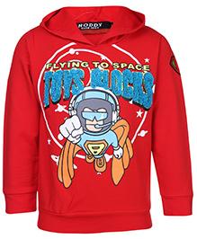 Noddy Full Sleeve Hooded Sweatshirt - Flying To Space Print