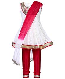 Ami Sleeveless Kurta And Chudidaar Set - Bead And Studded Detail Yoke