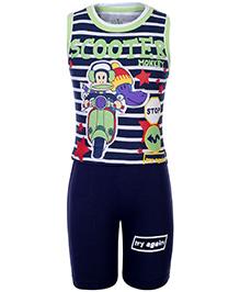 Babyhug Sleeveless T-Shirt And Shorts - Vehicle Theme