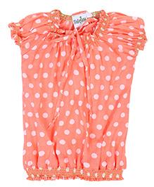 Babyhug Woven Top Short Sleeves Orange - Polka Dots