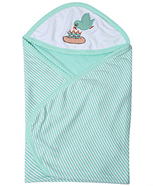 Tinycare Hooded Bath Towel Green - Embroidered Birdie
