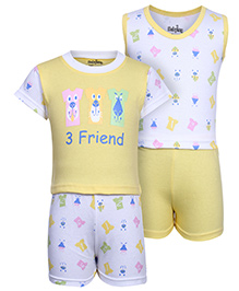 Babyhug 4 Piece Combo Set - Friend Print