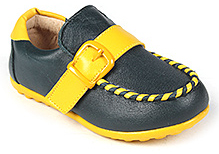 Doink Shoes Faux Leather Party Wear - Dark Green And Yellow