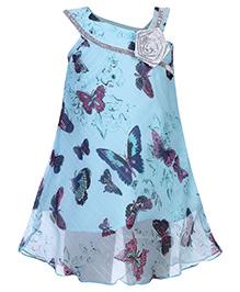 Babyhug Dress Down Shoulder Pattern  - Butterfly Theme