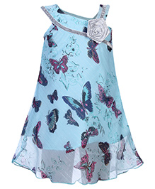 Babyhug Dress Down Shoulder Pattern  - Butterfly Theme