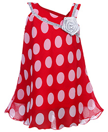 Babyhug Singlet Frock Fancy Rose Applique - Polka Dots