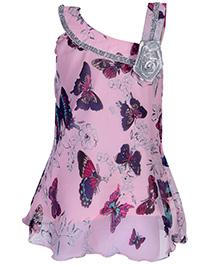 Babyhug Singlet Dress With Slant Shoulder - Butterfly Theme