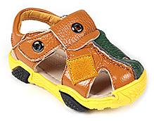 Doink Sandals Faux Leather Designer Strap - Green and Orange