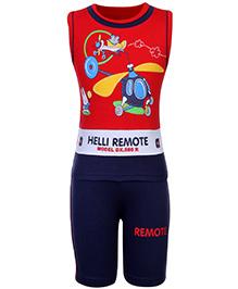 Babyhug Sleeveless T-Shirt And Shorts - Helicopter Theme